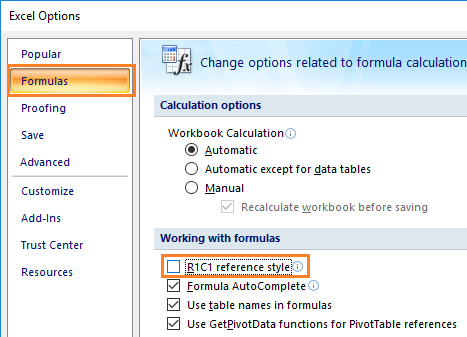 Setting Reference Style Excel 2010,2013,2016