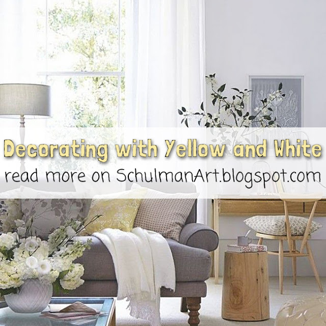 yellow and white livingroom decor | read more --> http://schulmanart.blogspot.com/2013/07/decorating-with-yellow-and-white-in.html
