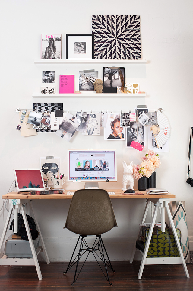 Bold modern office with pops of pink.