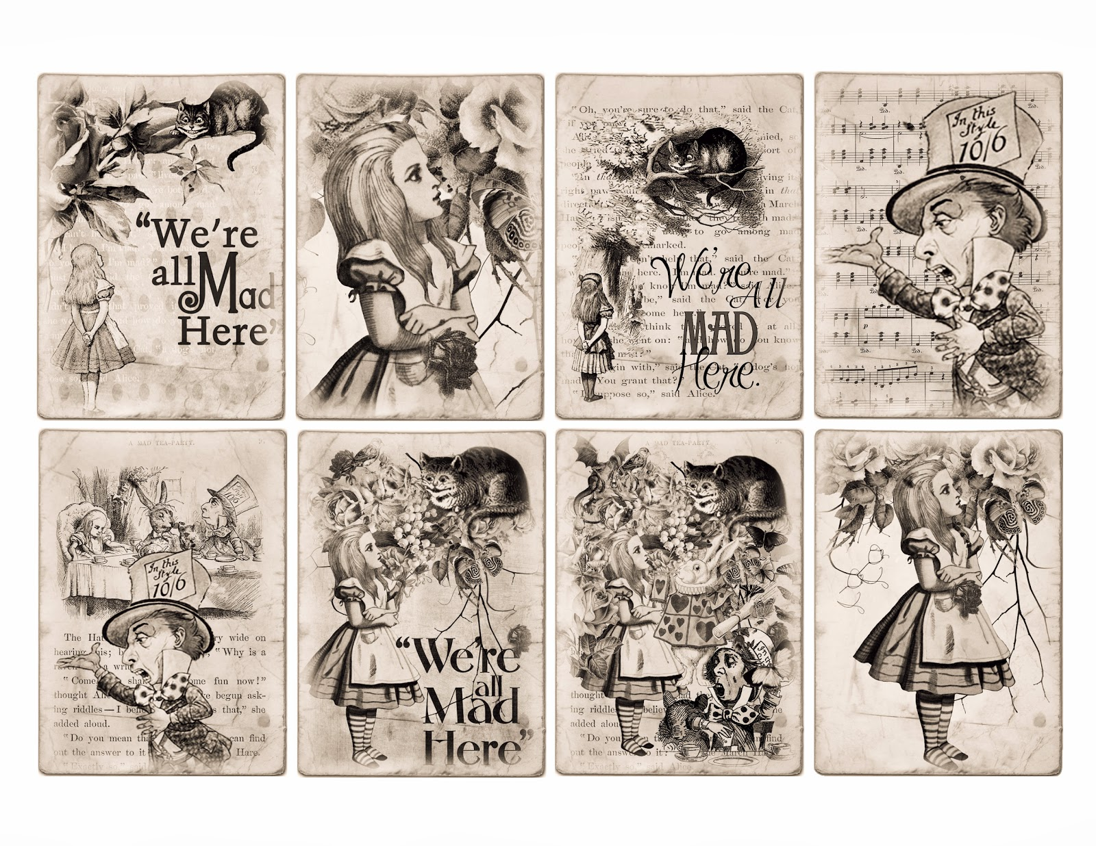 Free alice in wonderland atc tags background digital for Alice in wonderland tags template