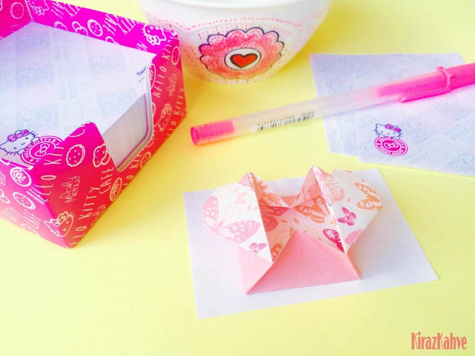 Origami Kağıt Kalp Kutu
