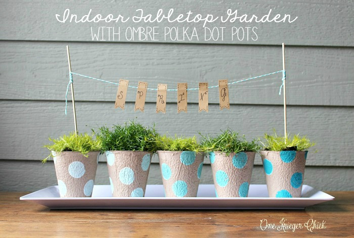 3+Indoor Garden with ombre polka dot painted pots 16 Spring Home Decor Projects 37