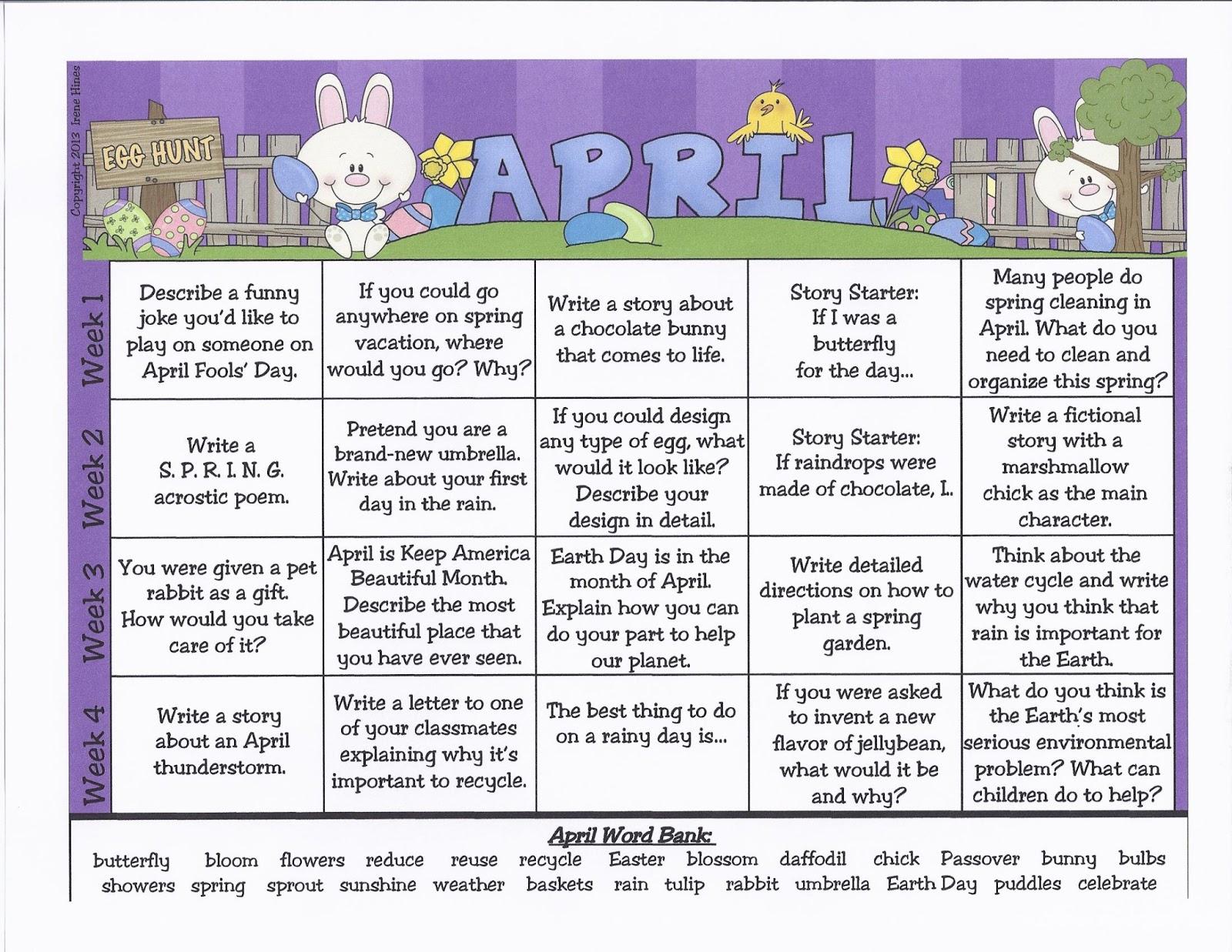 Mrseen S First Grade News April Calendar Writing Prompts