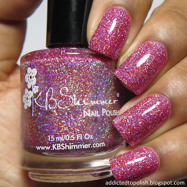 kbshimmer ripe for the pinking spring 2016 mega flame pink holo glitter
