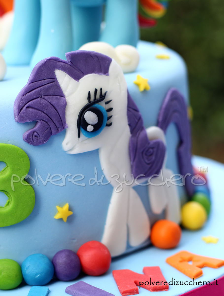 my little pony cake design mini pony polvere di zucchero pasta di zucchero torta decorata rainbow dash applejack rarity