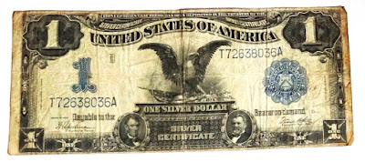 Authentic One Silver Dollar. series of 1899 Original One-dollar Bill