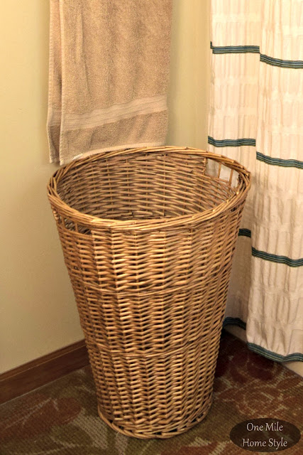 DIY Paint-Dipped Hamper Refresh (Before) - One Mile Home Style