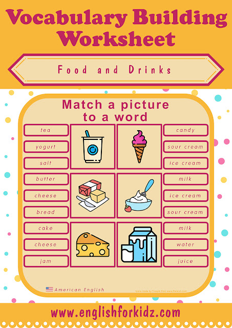 Food and drink worksheet - matching a picture to a word