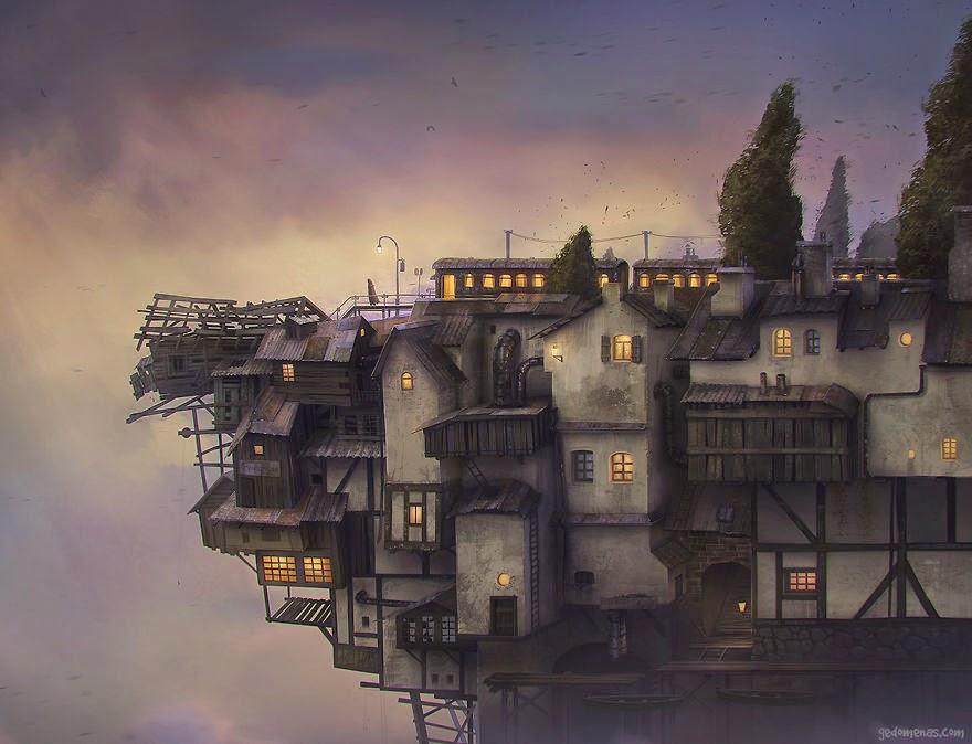 Ilustración con casas