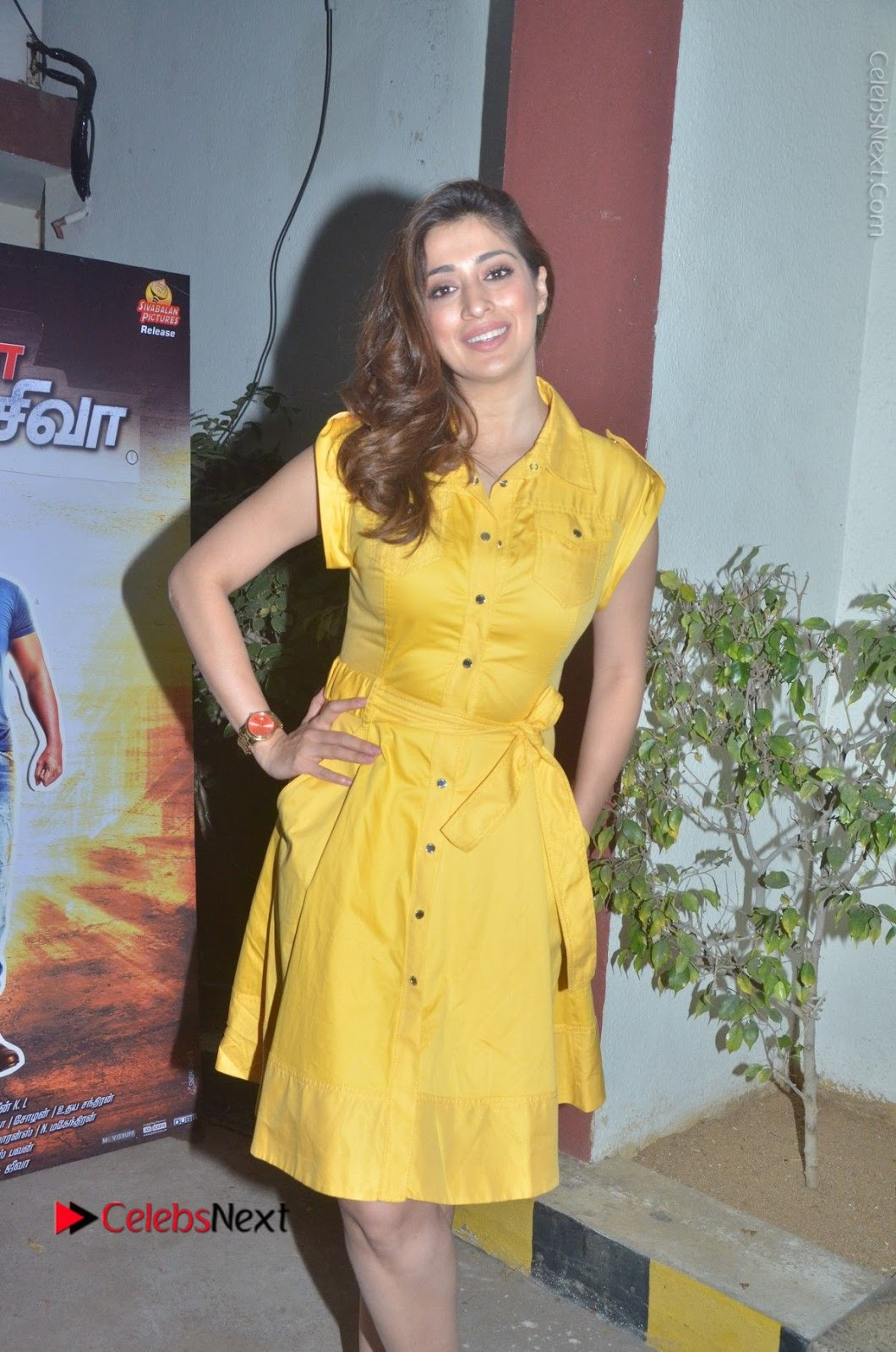 Raai Lakshmi Stills in Yellow Short Dress at Motta Shiva Ketta Shiva