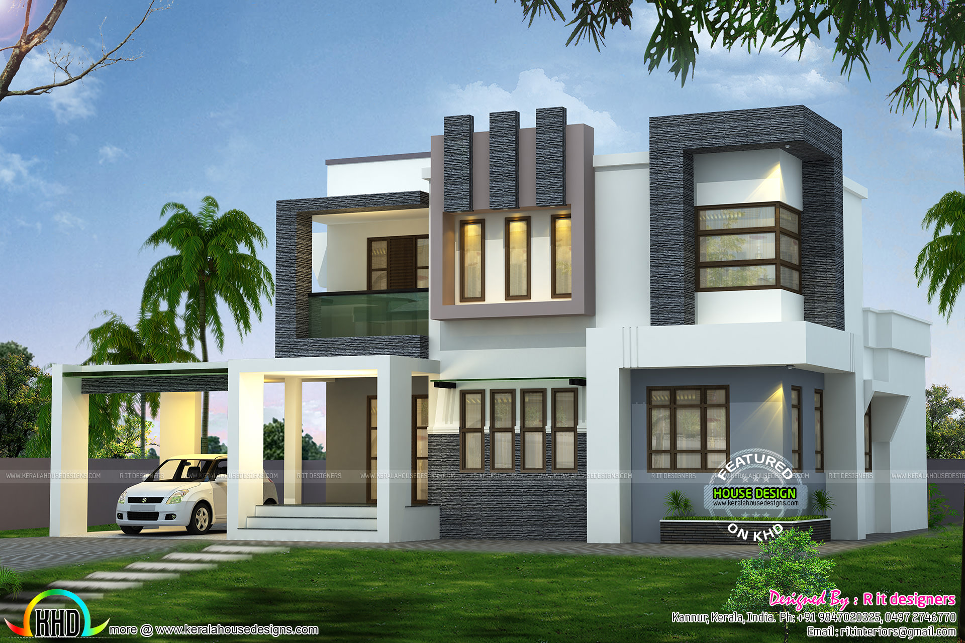 1938 sq ft modern contemporary house kerala home design for Contemporary home elevations