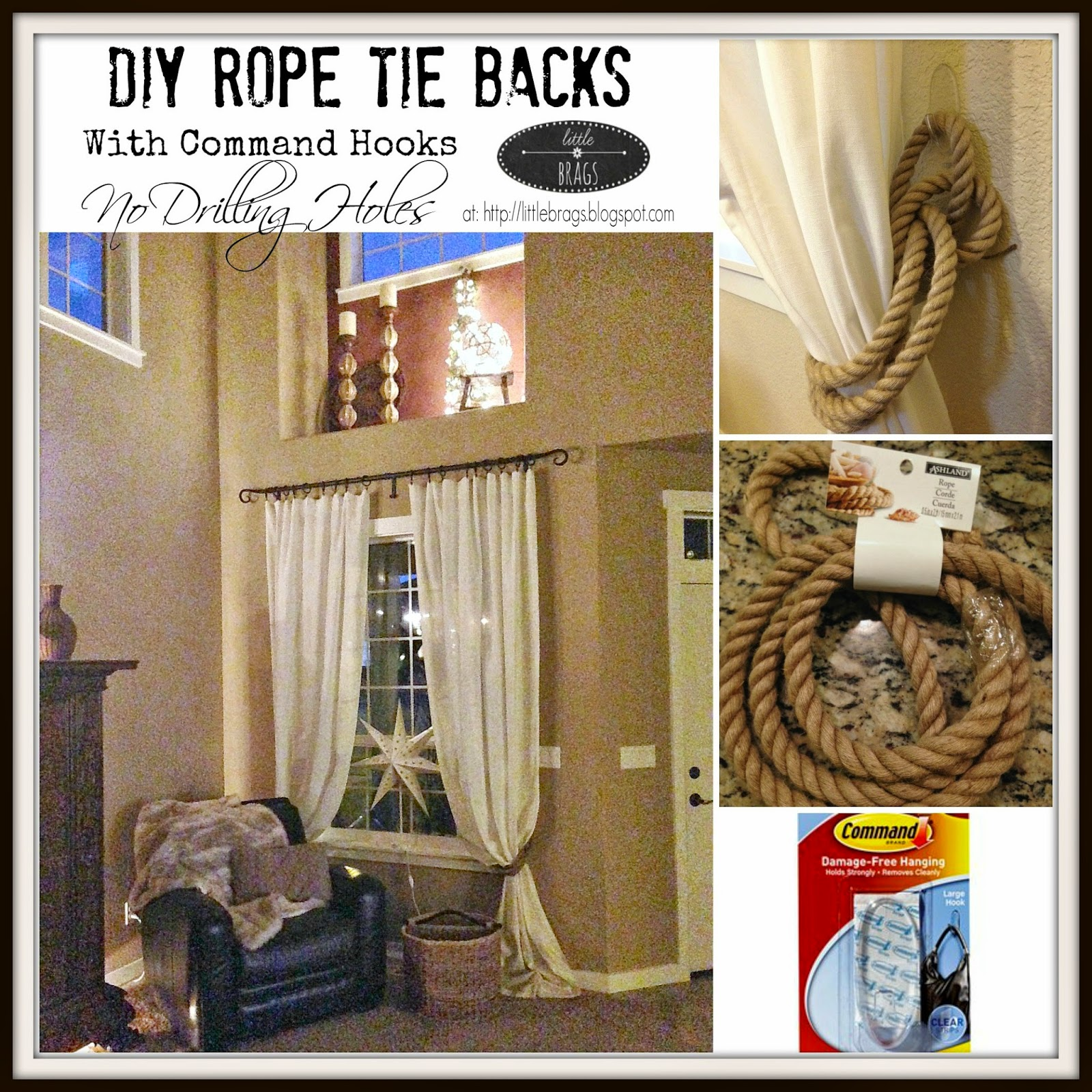 Curtain hardware tiebacks - I Purchased 4 Strings Of Jute Ropes At Michaels For 5 99 Each