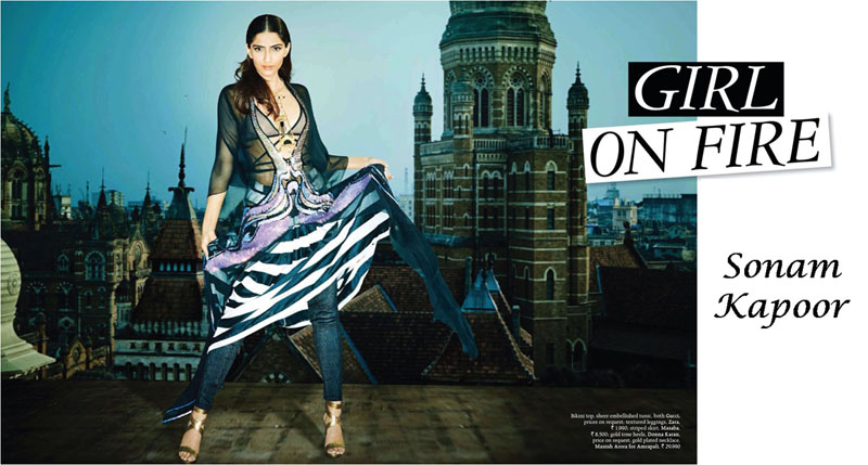 Sonam Kapoor in easy chic look on cover page of Grazia magazine in tunic over top and stripped skirt teamed with leggings