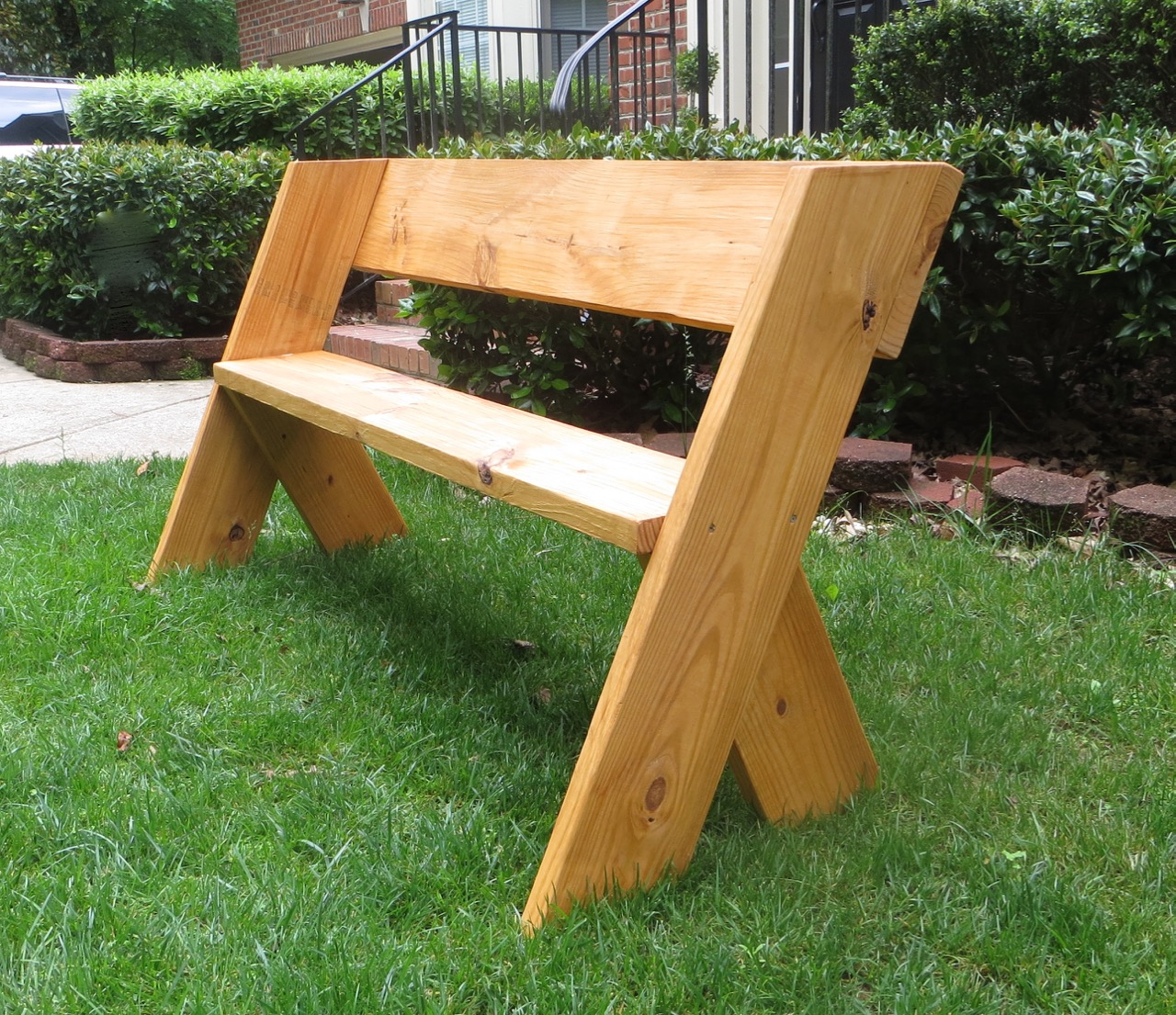 Outdoor Bench Ideas Part - 17: DIY Tutorial - $16 Simple Outdoor Wood Bench