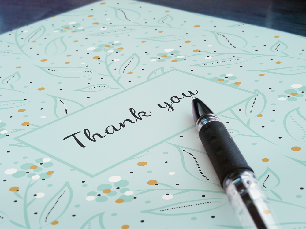 Thank you card with delicate pattern
