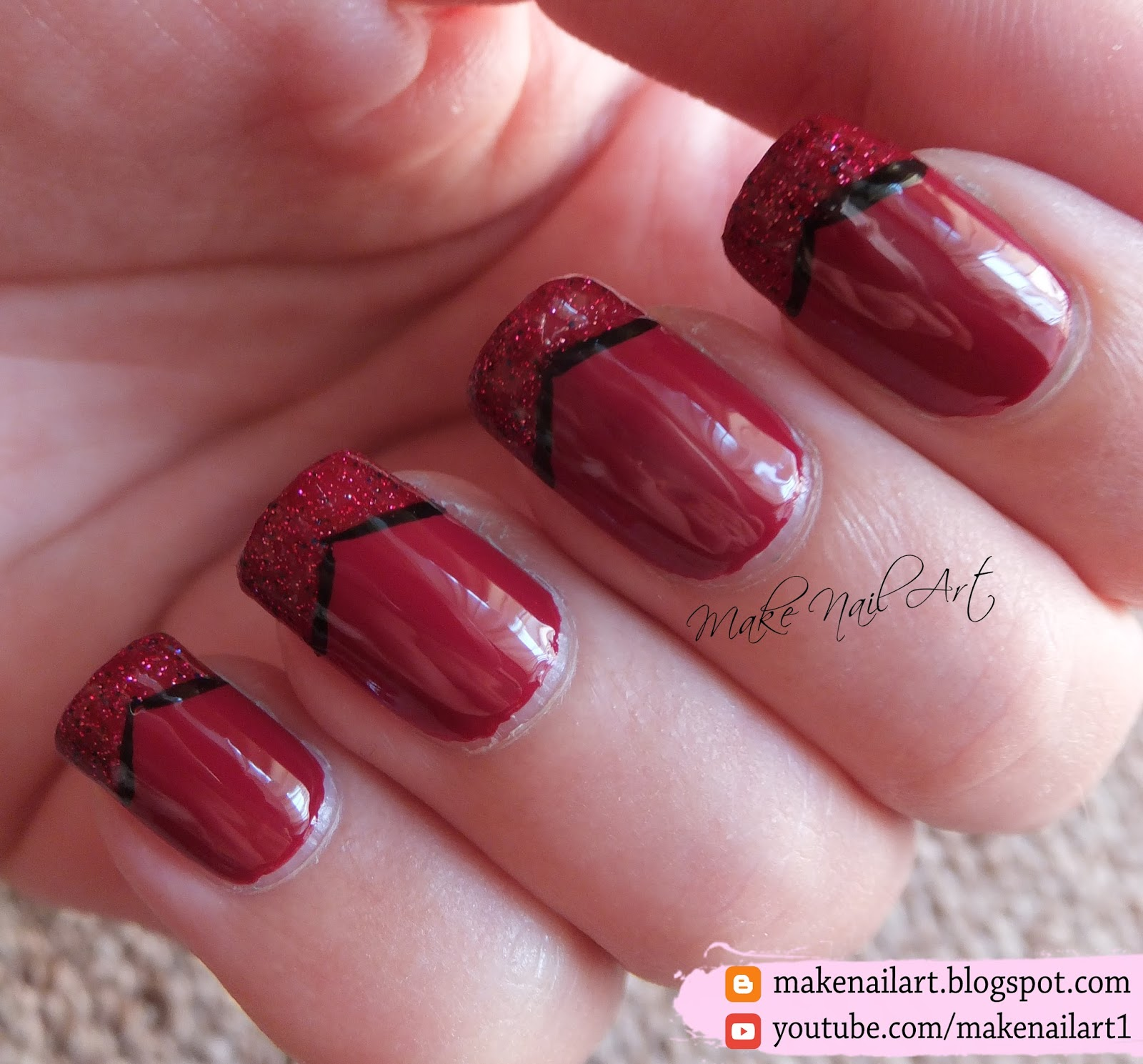 Make Nail Art: Easy Red French Manicure Nail Art Design Tutorial ...