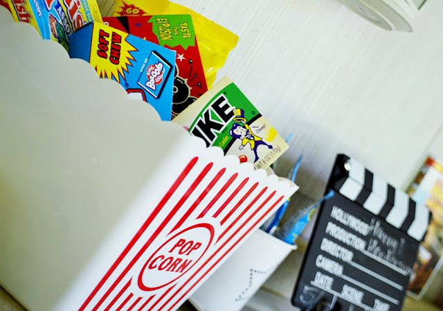 popcorn and candy, movie night, outdoor summer movies