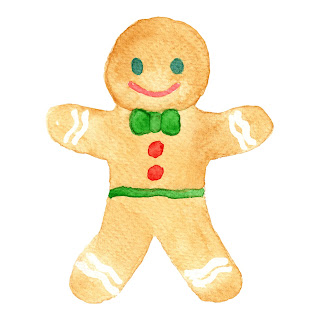 Simple watercolour sketch of a gingerbread man.