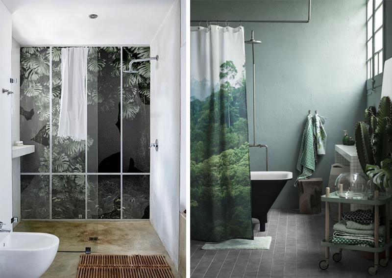 Ispirazioni in stile tropicale per il bagno carta da parati