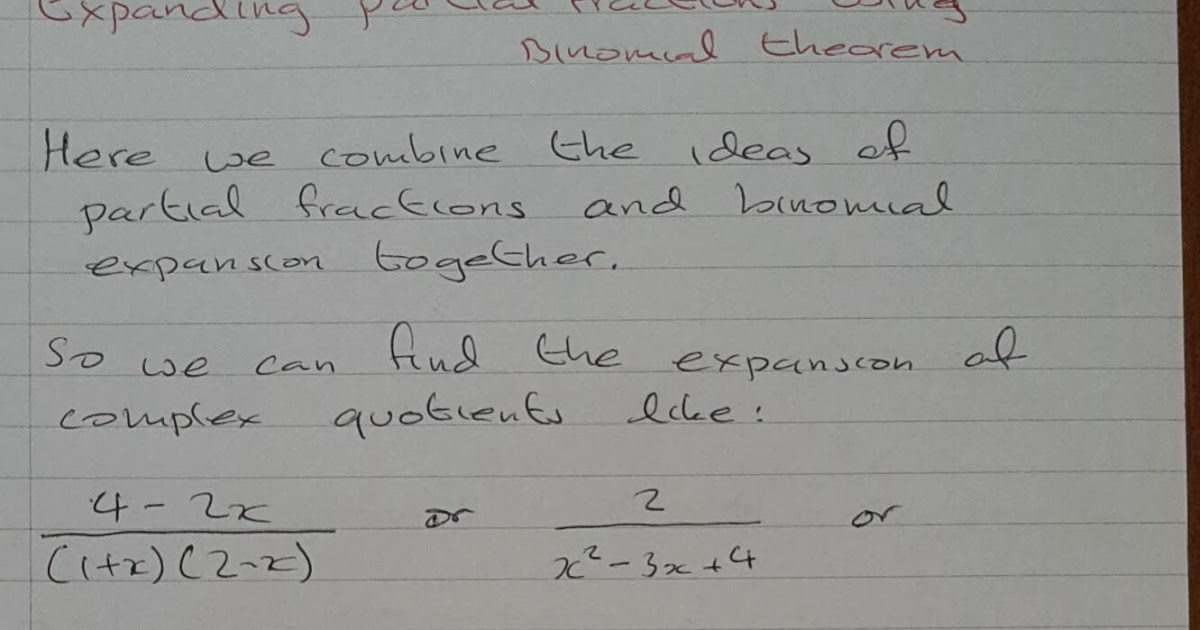 A Level Maths Notes: A2 Binomial Expansion: partial