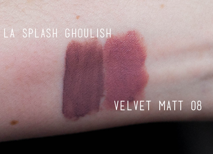 Essence Velvet Matt 08 vs LA Splash Ghoulish swatches