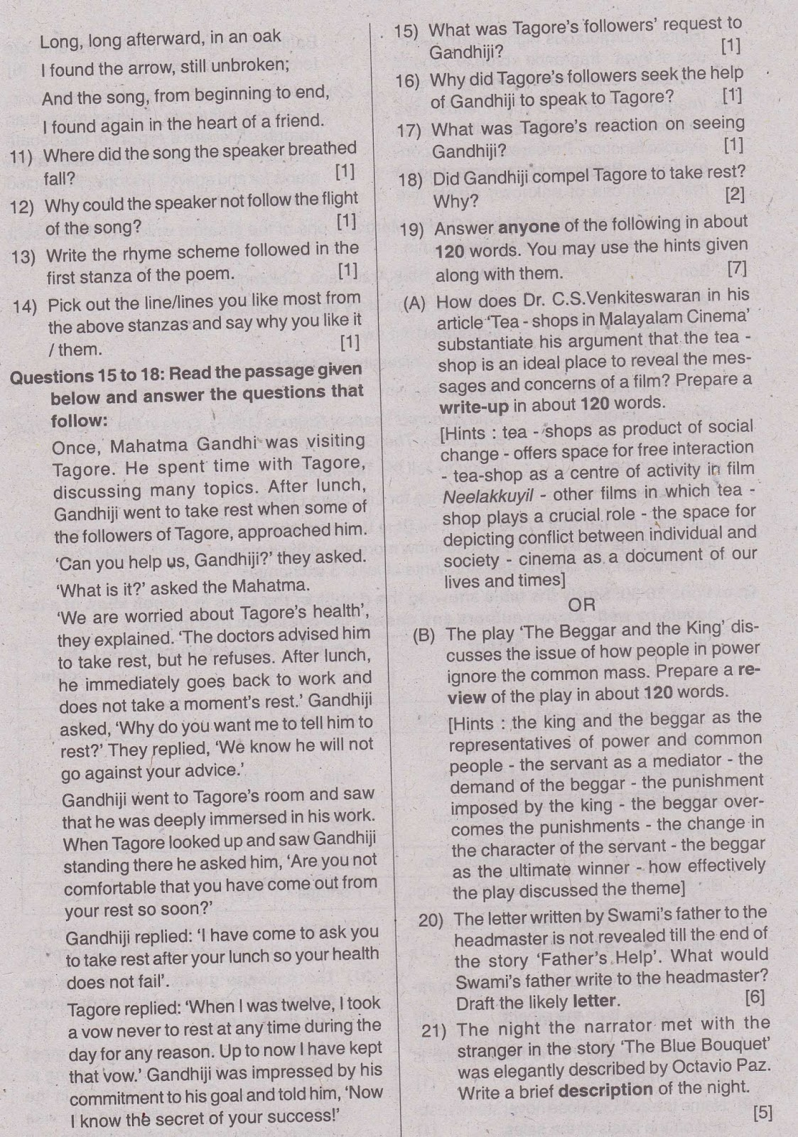Sslc Model Question Paper 2013 English