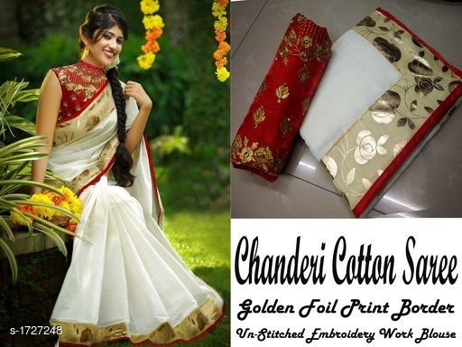 34657c35ff Fabric : Saree -Chennai Chanderi Cotton Silk, Blouse - Banglori Satin Silk  Size : Saree - 5.50 Mtr, Blouse - 0.80 Mtr Work: Saree - Banglori Silk with  Foil ...