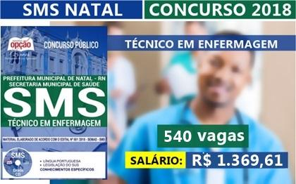 Concurso SMS Natal RN 2018 Técnico em Enfermagem