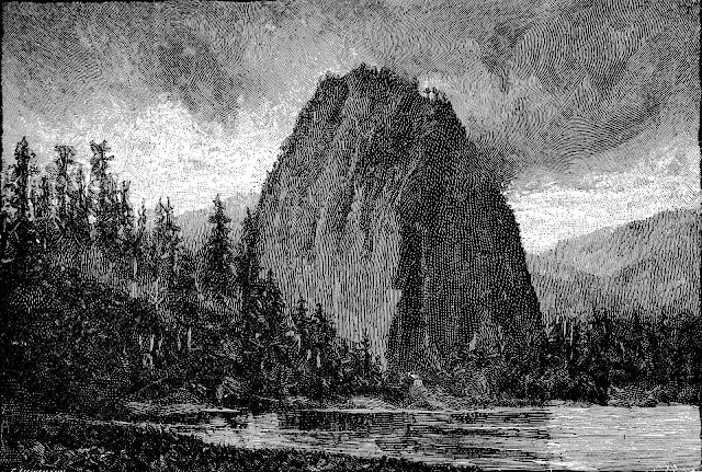 1899 publication image of a dark mountain