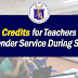 Service Credits for Teachers and MTs who Render Service During Summer