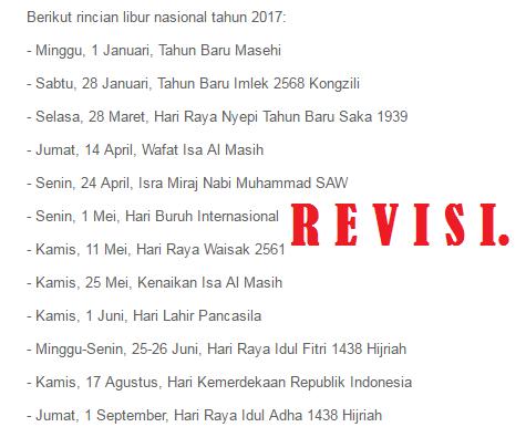 Pemerintah Revisi Hari Libur Nasional Tahun 2017 Info Pendidikan Terbaru