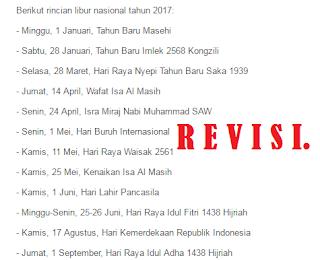 gambar Pemerintah Revisi Hari Libur Nasional Tahun 2017