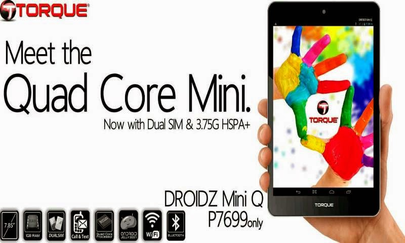 Torque Droidz Mini Q, Dual SIM 8-inch Quad Core Tablet at P7,699