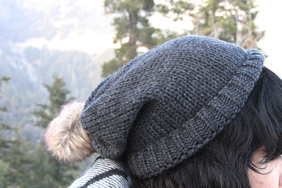 Grey Knit Pom Beanie Winter Cabin Outfit
