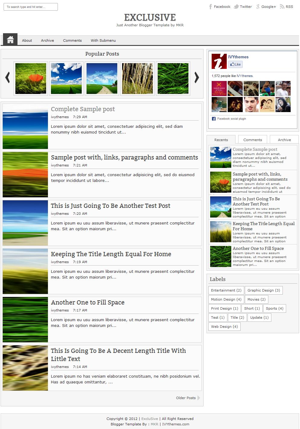 exclusive premium blogger template