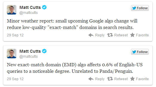 Matt Cutts Tweet Above Google EMD UPDATE