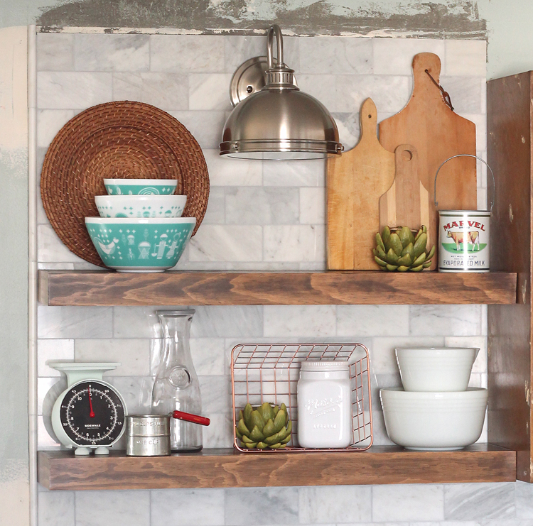 Open Shelving over Marble Tile Backsplash