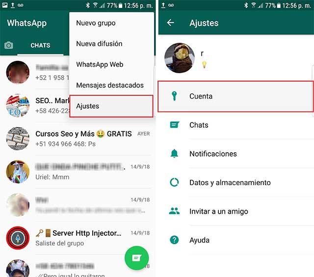 ajustes de la cuenta whatsapp