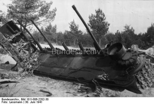 Destroyed Soviet Tank, 30 June 1941 worldwartwo.filminspector.com