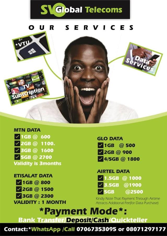 SV Global Telecom Data- Buy Cheap Data Plans in Nigeria For MTN, Airtel, Glo & 9mobile