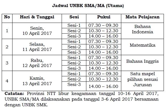 Jadwal UNBK SMA/MA 2017 Utama