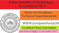 Indian Institute of Technology Recruitment 2017- 54 Junior Technical Superintendent, Senior Mechanic/ Senior Laboratory Assistant