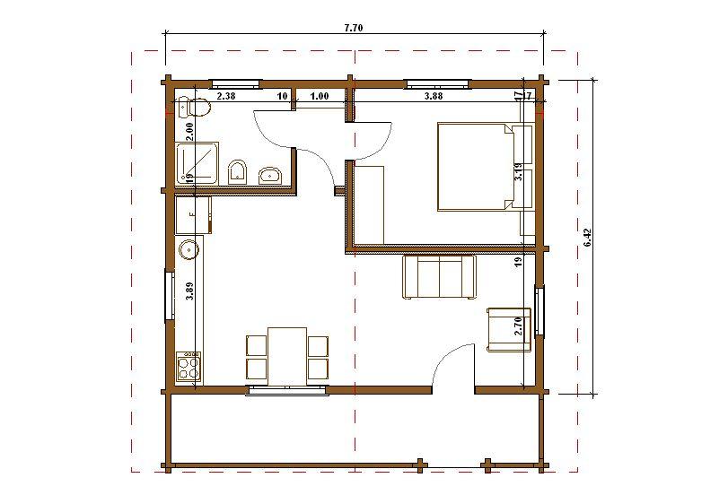 Progetti di case in legno casa blockhaus 49 mq terrazza for Progetto casa 40 mq