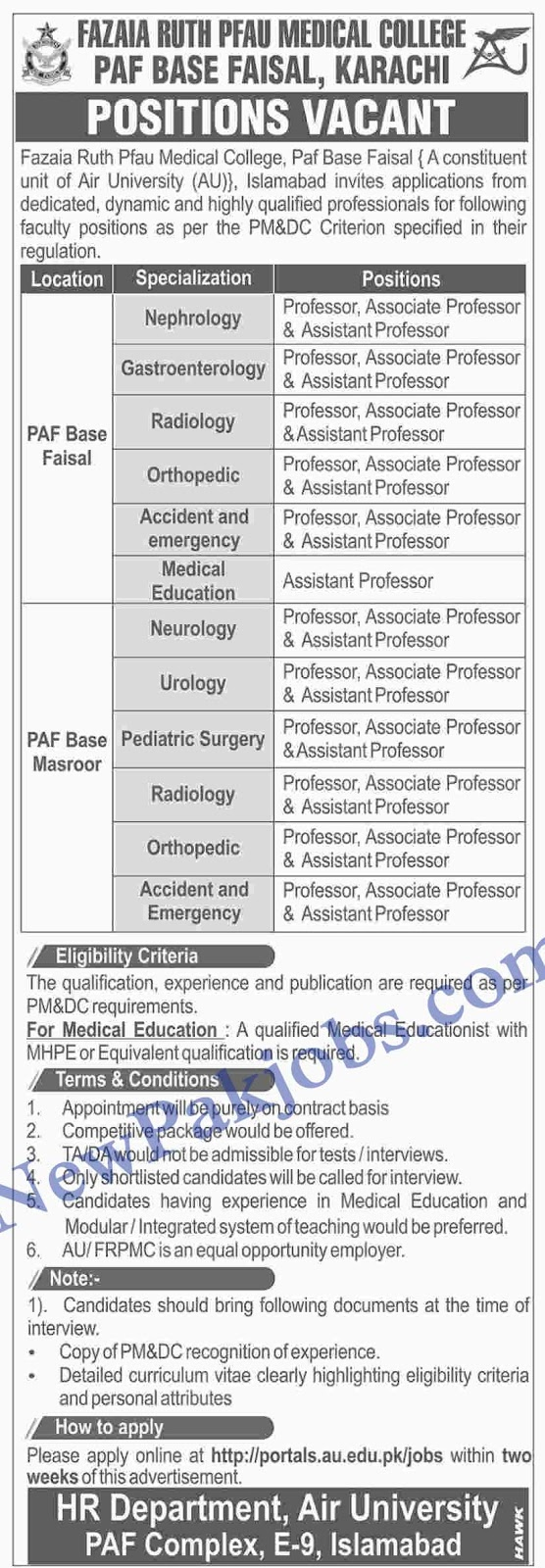 Faculty in Fazaia Ruth PFAO Medical College PAF Karachi 2019