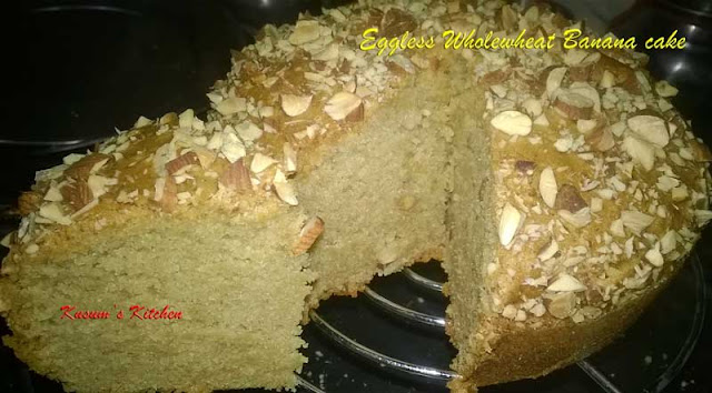 Eggless wholewheat banana cake in microwave convection