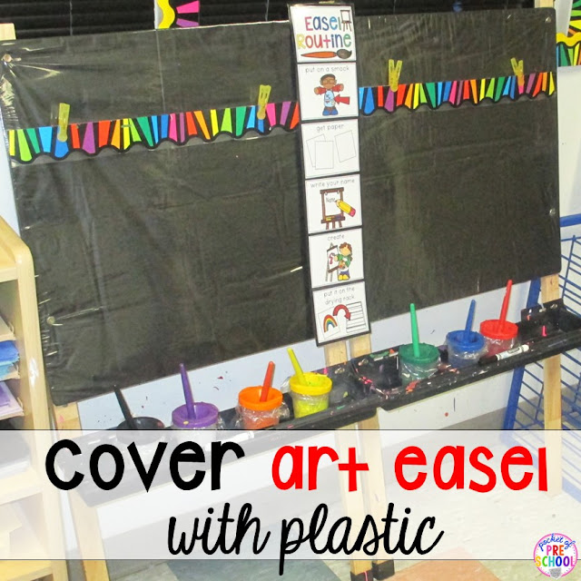 Cover your easels with plastic sheets, and affix clips so that students can easily pin up their canvases before painting.