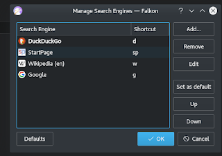 Default and other search options in Falkon 3.1