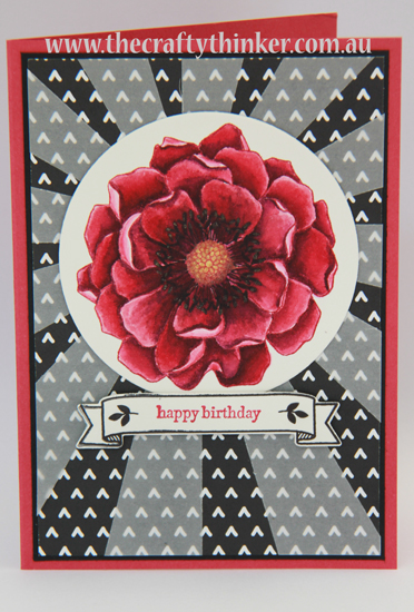 SU, Blended Bloom, Sunburst thinlits die, vellum, handcrafted card, watercolouring