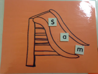 Review letter sounds with a slide for preschoolers