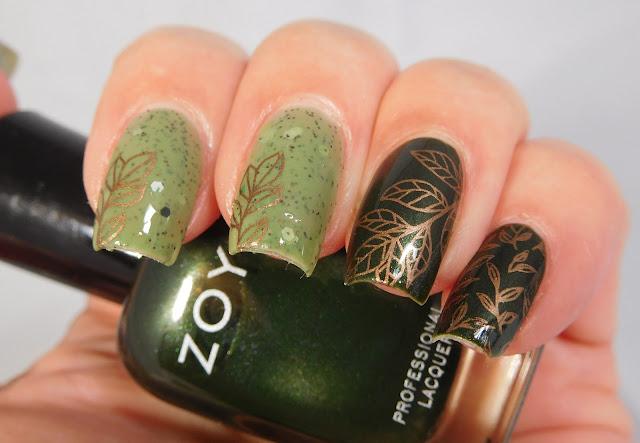UberChic Beauty Lovely Leaves 2 over Zoya Tabitha and LynBDesigns Quintessential Kiwi